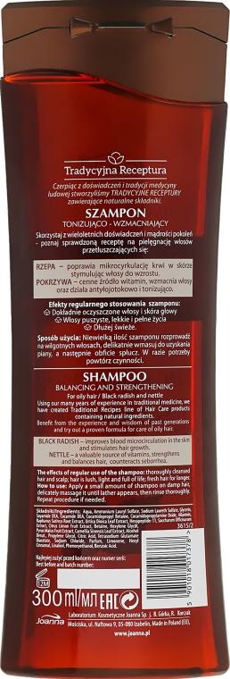 """Šampón na vlasy """"Čierna reďkovka a žihľava"""" - Joanna Balancing And Strengthening Shampoo — Obrázky N2"""