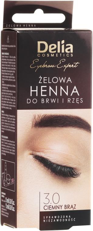 Gél farba na obočie, tmavo hnedá - Delia Eyebrow Tint Gel ProColor 3.0 Dark Brown