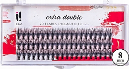 Voňavky, Parfémy, kozmetika Falošné mihalnice, trsy C 0,1 mm, 8 mm - Ibra Extra Double 20 Flares Eyelash C 8 mm