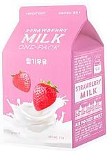 """Voňavky, Parfémy, kozmetika Látková maska zosvetľujúca """"Jahoda"""" - A'Pieu Milk One-Pack Brightening Strawberry"""