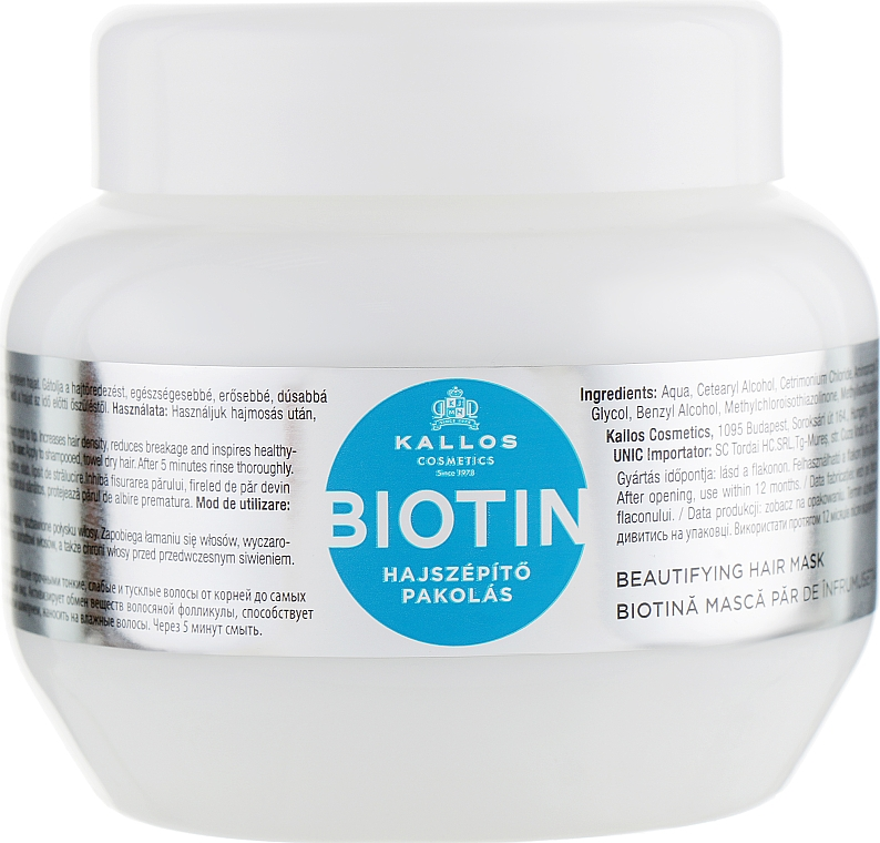 Maska na zvýraznenie rastu vlasov s biotínom - Kallos Cosmetics Biotin Beautifying Mask