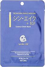 """Voňavky, Parfémy, kozmetika Textilná maska na tvár """"Hadie peptidy + EGF"""" - Mitomo Essence Sheet Mask Syn-Ake + EGF"""