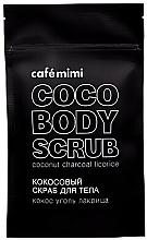 """Voňavky, Parfémy, kozmetika Kokosový telový scrub """"Kokos, uhlie, sladké drievko"""" - Cafe Mimi Coco Body Scrub Coconut Charcoal Licorice"""