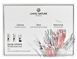 Voňavky, Parfémy, kozmetika Sada - Living Nature Skin Steps To Enrich Dry Skin (milk/50ml + gel/50ml + cr/50ml)