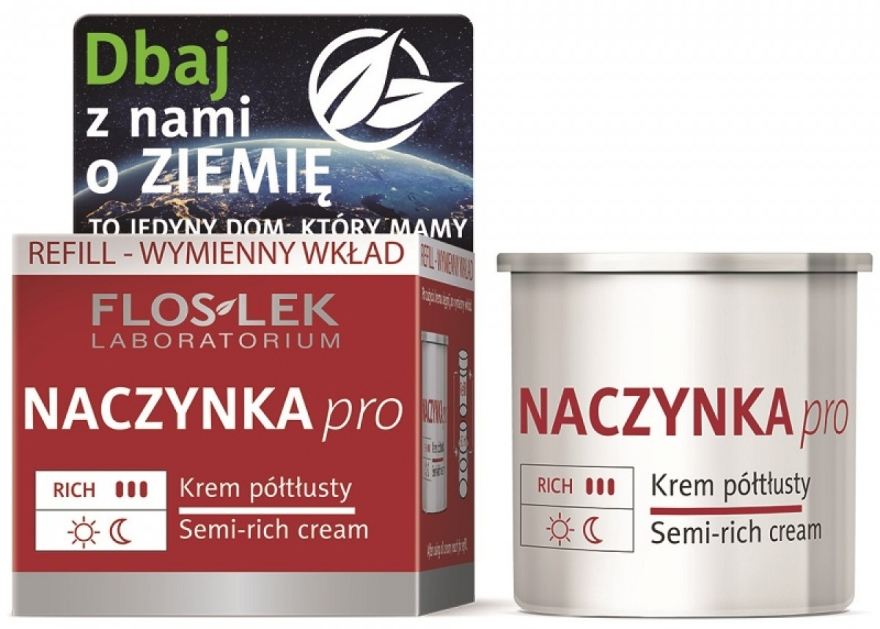 Poltučný krém na tvár - Floslek Dilated Capillaries Semi-Rich Cream Refill (vymeniteľný blok)