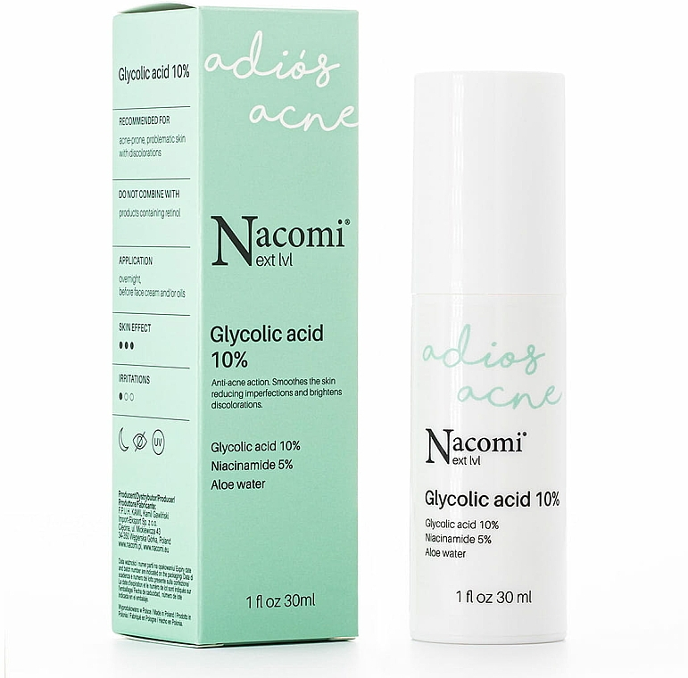 Nočné peelingové sérum s 10% kyselinou glykolovou - Nacomi Next Level Glycolic Acid 10%