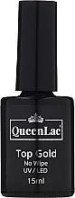Voňavky, Parfémy, kozmetika Top na gélový lak bez lepivej vrstvy - QueenLac Top Gold No Wipe UV/LED