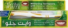 """Voňavky, Parfémy, kozmetika Sada """"Liečivé bylinky"""" s bielo-žltou zubnou kefou - White Glo Herbal White (t/paste/100ml + t/brush/1)"""