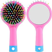 Voňavky, Parfémy, kozmetika Kefa na vlasy so zrkadlom, ružová - Twish Handy Hair Brush with Mirror Rose Pink