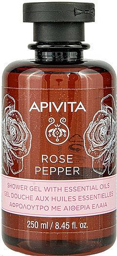 """Sprchový gél s éterickými olejmi """"Ruža a korenie"""" - Apivita Shower Gel Rose & Black Pepper"""