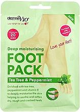 Voňavky, Parfémy, kozmetika Hydratačná maska na nohy vo forme ponožiek - Derma V10 Foot Pack Tea Tree&Peppermint Deep Vegan Moisturising Exfoliating
