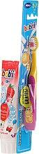Voňavky, Parfémy, kozmetika Sada so žlto-ružovou kefkou - Bobini 2-7 (toothbrush + toothpaste/75ml)