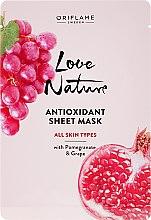 Voňavky, Parfémy, kozmetika Antioxidačná textilná maska s granátovým jablkom a hroznom - Oriflame Love Nature