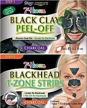 Voňavky, Parfémy, kozmetika Maska na tvár s čiernou hlinkou, pásiky na nos, bradu a čelo - 7th Heaven Charcoal Duo Black Clay Peel Off