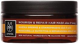 Voňavky, Parfémy, kozmetika Revitalizačná výživná maska na vlasy s olivovým olejom a medom - Apivita Nourish & Repair Hair Mask With Olive & Honey