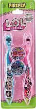 Voňavky, Parfémy, kozmetika ada zubných kefiek, mäkké, modré + ružové - Ep Line LOL Surprise (toothbrush/2szt + case/2szt)