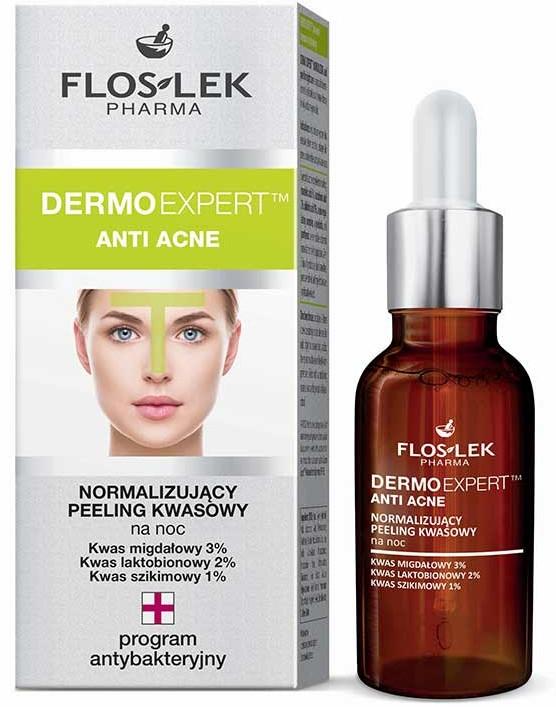 Normalizujúci nočný peeling - Floslek Dermo Expert Anti Acne Peeling