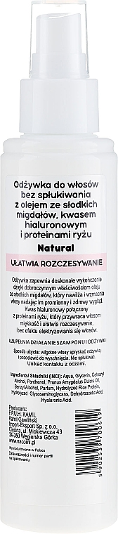 Kondicionér na vlasy - Nacomi No-Rinse With Sweet Almond & Hyaluronic Acid Conditioner — Obrázky N2