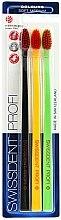 Voňavky, Parfémy, kozmetika Sada kefiek na zuby, stredne mäkká, čierna + žltá + zelená - SWISSDENT Profi Colours Soft-Medium Trio-Pack