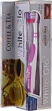 """Voňavky, Parfémy, kozmetika Sada """"Pre milovníkov čaju a kávy"""", fialová - White Glo Coffee & Tea Drinkers Formula Whitening Toothpaste (toothpaste/100ml + toothbrush)"""