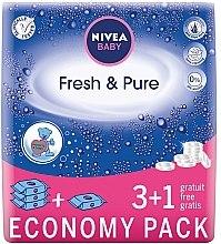 """Voňavky, Parfémy, kozmetika Vlhké utierky detské """"Čistota a čerstvosť"""" 4x63 ks - Nivea Baby Pure & Fresh"""