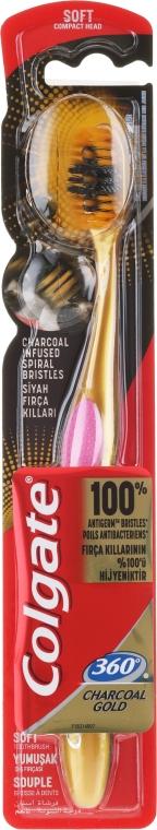 Zubná kefka, mäkká, ružovo-zlatá - Colgate 360 Charcoal Gold Soft Toothbrush