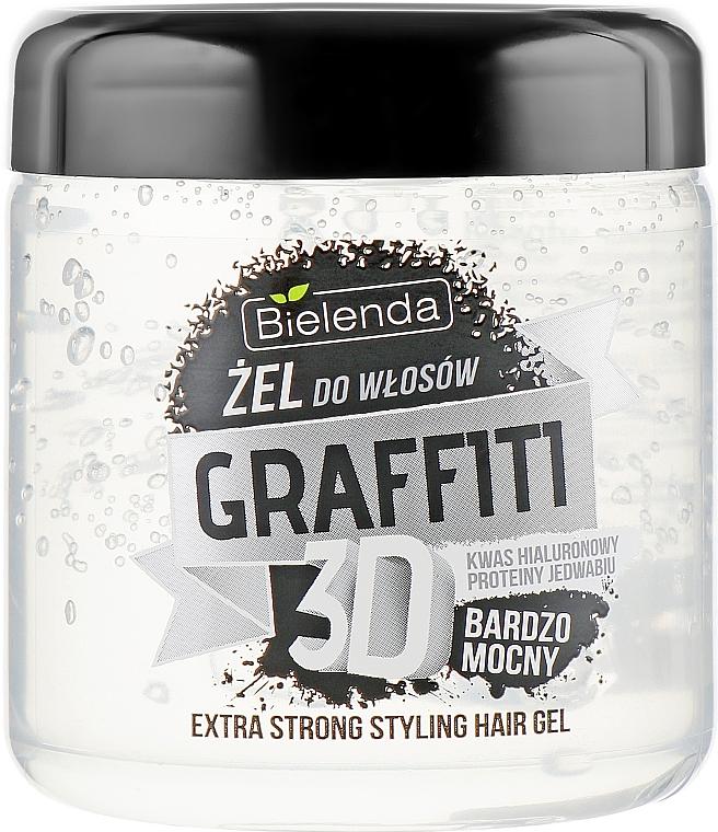 Gél na vlasy s kyselinou hyalurónovou a hodvábnymi proteínmi - Bielenda GRAFFITI 3D Extra Strong Stayling Hair Gel