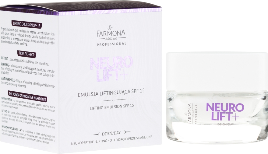 Emulzia-lifting na tvár - Farmona Neurolift+ Face Lifting Emulsion SPF 15
