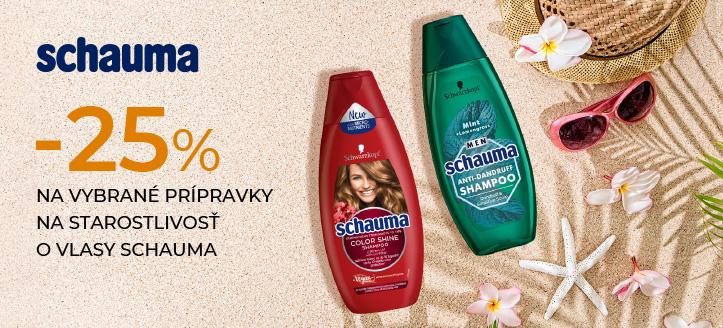 Zľava 25% na vybrané prípravky na starostlivosť o vlasy Schauma. Ceny na stránke sú uvedené so zľavou