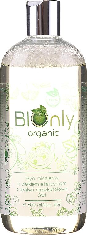 Micelárna tekutina s éterickým olejom zo šalvie muškátovej 3v1 - BIOnly Organic