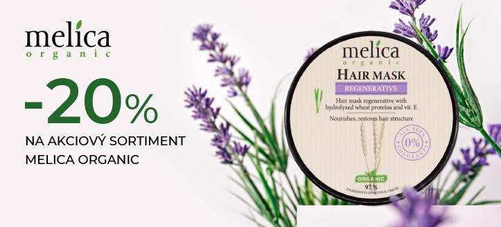 Zľava 20% na akciový sortiment Melica Organic. Ceny na stránke sú uvedené so zľavou