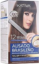 Voňavky, Parfémy, kozmetika Sada na vyrovnanie vlasov keratínom, pre brunetky - Kativa Alisado Brasileno Straighten Brunette (shm/15ml + mask/150ml + shm/30ml + cond/30ml + brush/1pcs + gloves/1pcs)