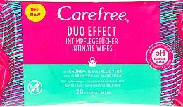 """Voňavky, Parfémy, kozmetika Vlhčené obrúsky """"Aloe"""" na intímnu hygienu, 20 ks - Carefree Duo Effect"""