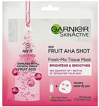 Voňavky, Parfémy, kozmetika Hydratačná maska na vlasy so sakurou - Garnier Skin Active New Fruit Aha Shot Fresh Mix Tissue Mask