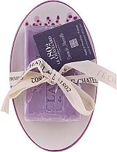 "Voňavky, Parfémy, kozmetika Oválne mydlo s keramickou mydlovničkou ""Levanduľa"" - Le Chatelard 1802 Lavender Soap"