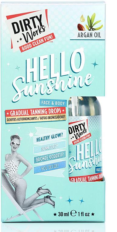 Kvapky na postupné opaľovanie tváre a tela - Dirty Works Hello Sunshine Face & Body Gradual Tanning Drops Argan Oil — Obrázky N2