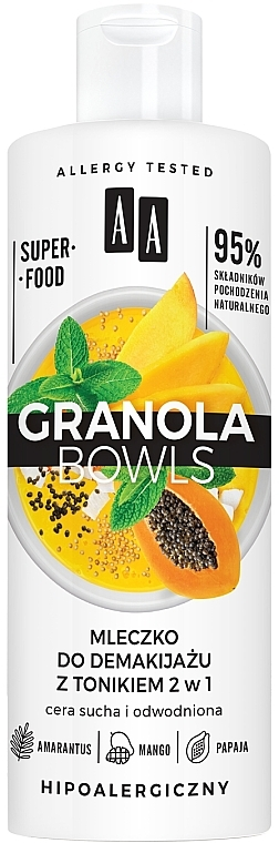 Mlieko na odličovanie s tonikom pre citlivú a dehydratovanú pleť - AA Granola Bowls Makeup Remover Milk And Tonic 2 in 1