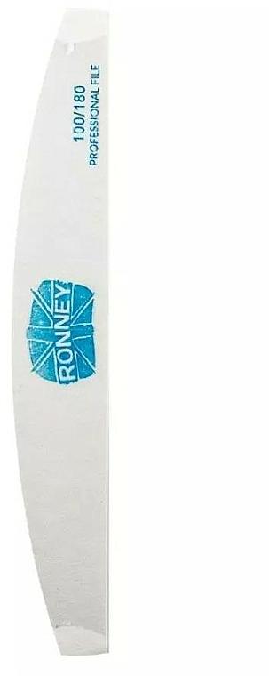 Pilník na nechty, 100/180, biely, polmesiac - Ronney Professional Premium Half Moon Nail Files