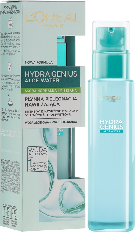 Aqua-fluid na tvár pre normálnu a kombinovanú pleť - L'Oreal Paris Hydra Genius Aloe Water