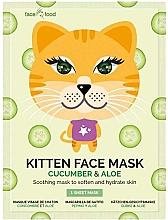 """Voňavky, Parfémy, kozmetika Textilná maska na tvár """"Mačiatko"""" s uhorkou a aloe extraktom - 7th Heaven Face Food Kitten Face Mask Cucumber & Aloe"""