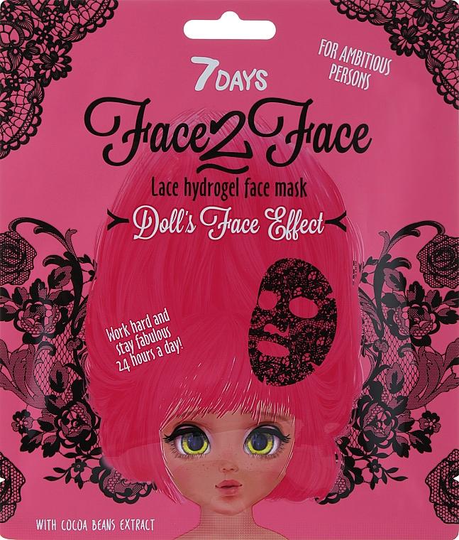Čipkovaná hydrogélová maska na tvár s extraktom z kakaových bôbov - 7 Days Face2Face Lace Hydrogel Mask Cocoa Beans — Obrázky N1