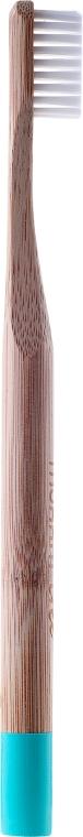 Bambusová zubná kefka, mäkká, azúrová - Mohani Toothbrush — Obrázky N2