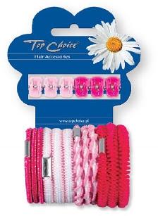 Sada štipcov a gumičiek na vlasy 28113, 6+12 ks, ružová - Top Choice
