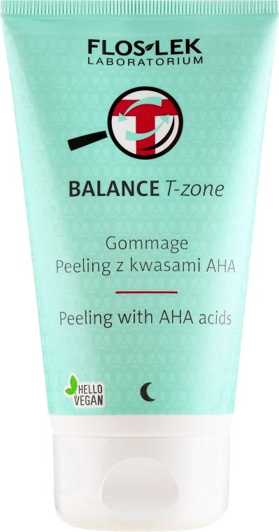 Peeling-gomáž na tvár s kyselinami - Floslek Balance T-Zone Gommage Peeling With AHA Acids