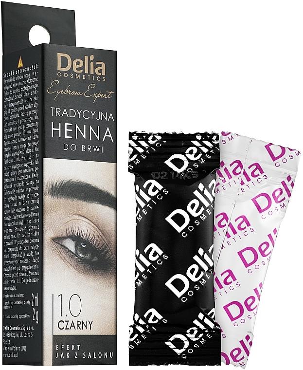 Farba na obočie v prášku, čierna - Delia Brow Dye Henna Traditional Black