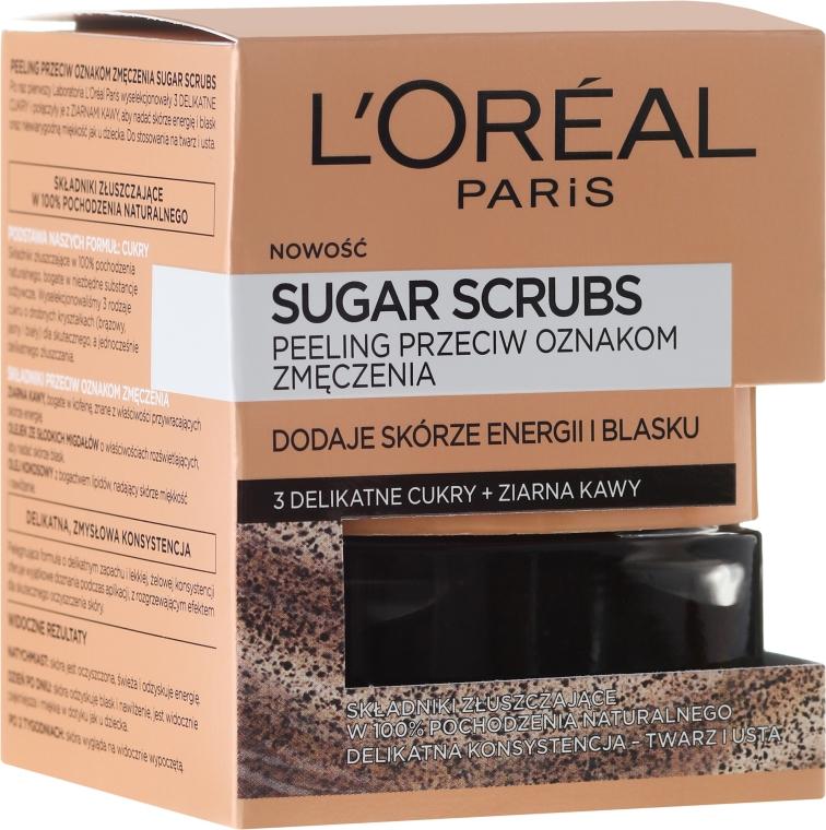 """Cukrový scrub na tvár """"3 cukry + kávové zrná"""" - L'Oreal Paris Pure-Sugar Resurface & Energize Kona Coffee Scrub"""