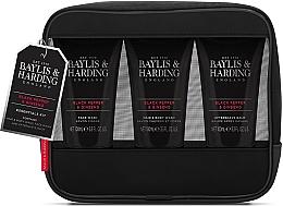 Voňavky, Parfémy, kozmetika Sada - Baylis & Harding Signature Men's Black Pepper & Ginseng Toiletry Bag (hair/body/wash/100ml+a/sh/balm/100ml+face/wash/100ml+acc)
