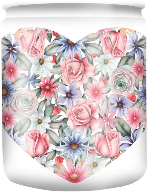 """Vonná sviečka v pohári so vzorom """"White Flower"""" 82/68 - Bolsius Aromatic"""