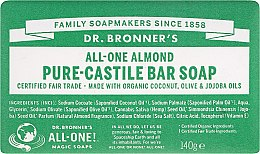 "Voňavky, Parfémy, kozmetika Mydlo ""Mandle"" - Dr. Bronner's Pure Castile Bar Soap Almond"