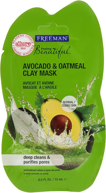 """Čistiaca hlinová tvárová maska """"Avokádo a ovsená muka"""" - Freeman Feeling Clay Mask Avocado & Oatmeal"""